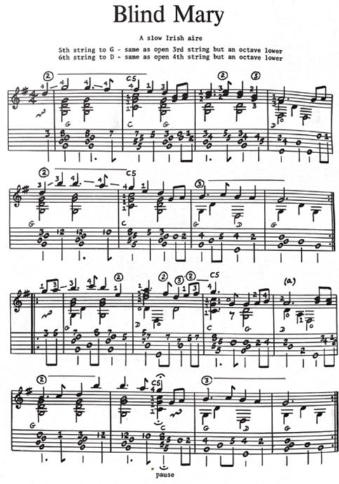 Blind Mary harmoniseret version fra Michael Raven: English Folk Guitar 2.