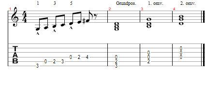 Akkordomvendinger i tonearten g dur