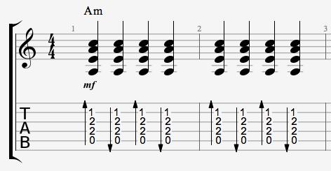 Ned og op strum på en Am akkord