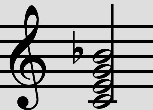 C7 akkord med kvint vist som noder