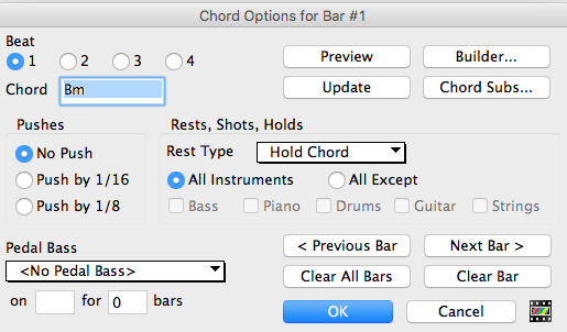 Chord Options i Band In A Box