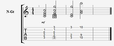 Tabulatur eksempel med C akkord