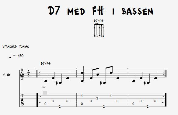 D7 akkord med fis i bassen øvelse