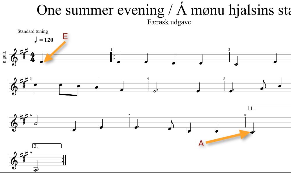 Den færøske udgave starter på E og slutter på A