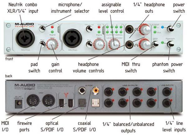 Indstillinger på et M-audio firwire 410 lydkort