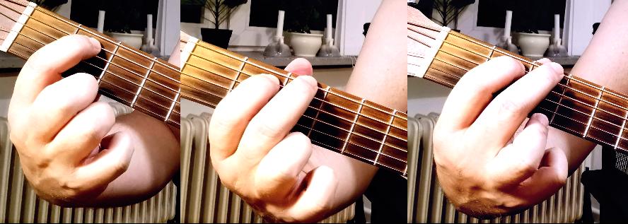 G dur akkorden med fingre en ad gangen