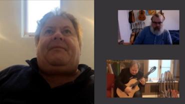 Screenshot af vores video interview med guitaristen Pat Coldrick fra Irland der fortæller om sin nye cd Ophelia