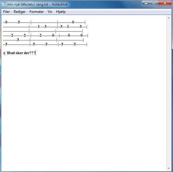 Tabulatur eksempel 1