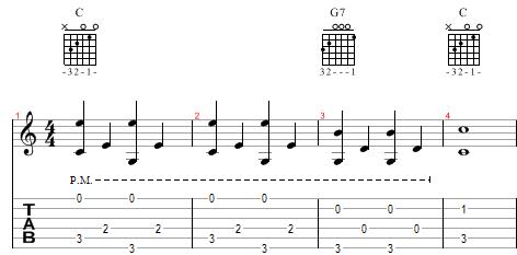Vekselbas øvelse med melodi og bas